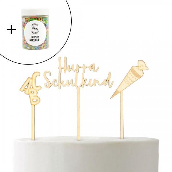 Set mit Cake Topper Hurra Schulkind, Schultüte , ABC und Super Streusel Bunt.