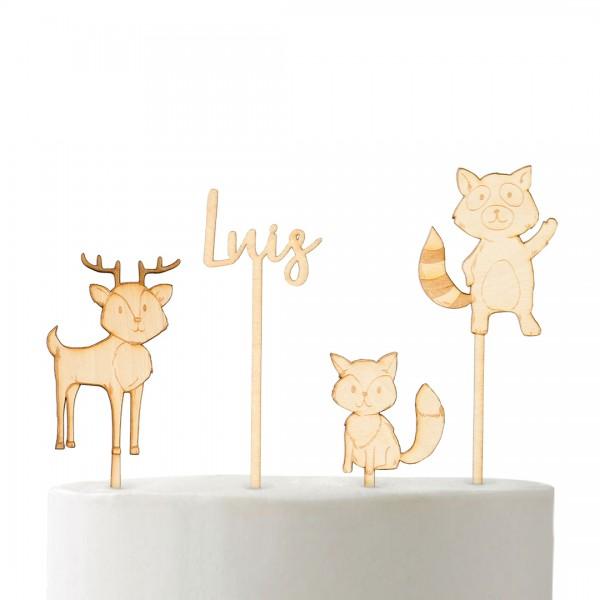Cake Topper - Set - Happy Birthday - Waldtiere