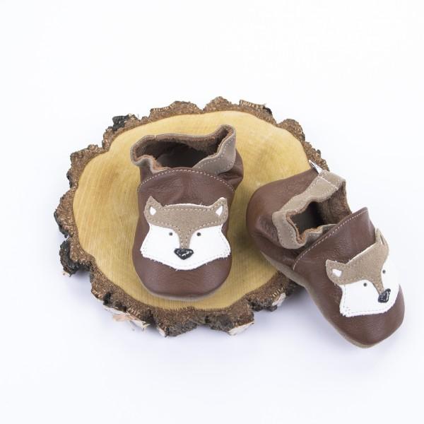 Krabbelschuhe Leder Fuchs - braun