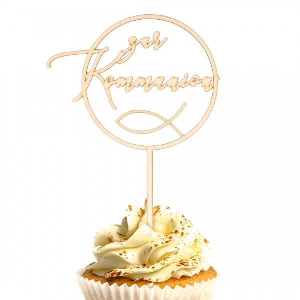 """Cake Topper """"Kommunion rund"""" auf einem Muffin"""