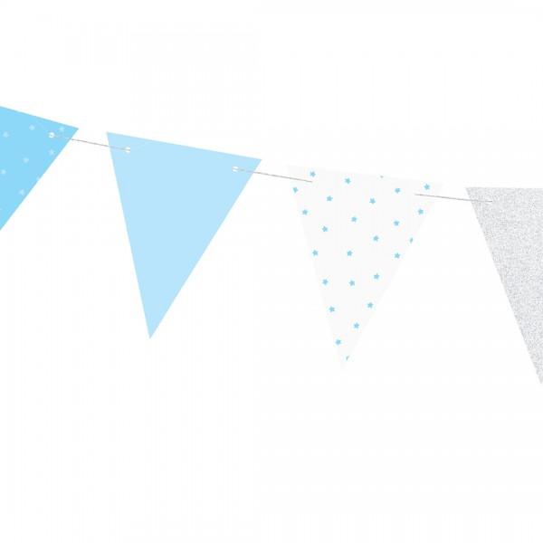 Wimpel-Girlande – Party Deko | Erster Geburtstag mit Wimpeln in Blau und Weiß, bedruckt mit Muster