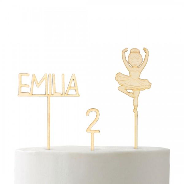 Set Cake Topper Tänzerin mit Ballerina, Wunschname und Wunschzahl