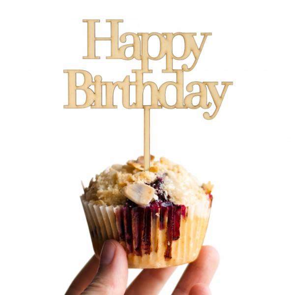 Cake Topper Happy Birthday Schreibmaschine auf Muffin