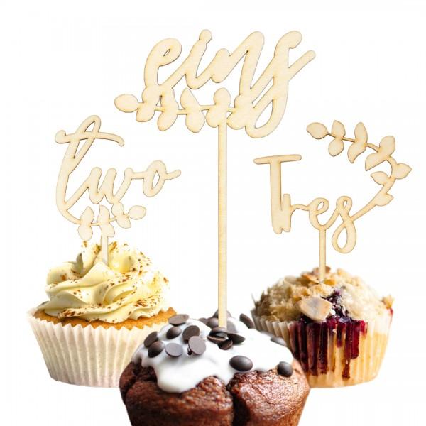 Cake Topper - Zahlen - Eukalyptus