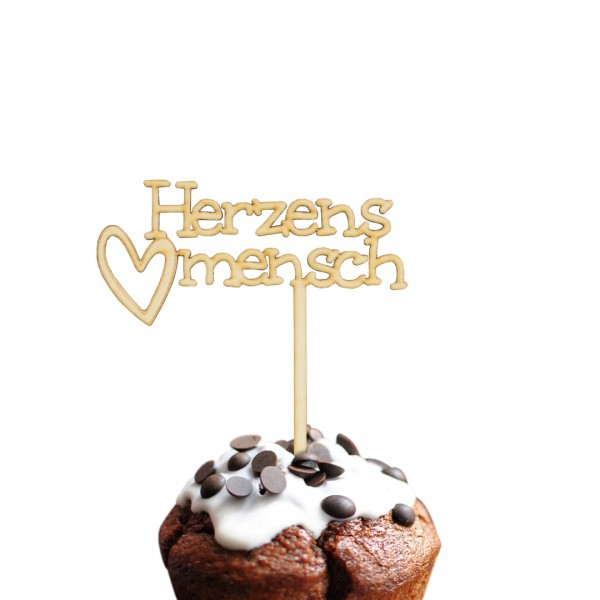 Cake Topper Herzensmensch mit Herz aus Holz auf Muffin