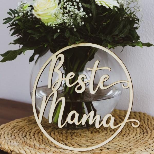 Holzkranz Muttertag - Beste Mama vor Blumenstrauß