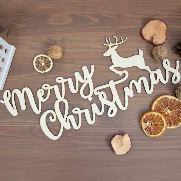 Wandschmuck   Merry Christmas liegend neben Windlicht   Haus   weiß   klein und getrockneter Weihnachtsdeko