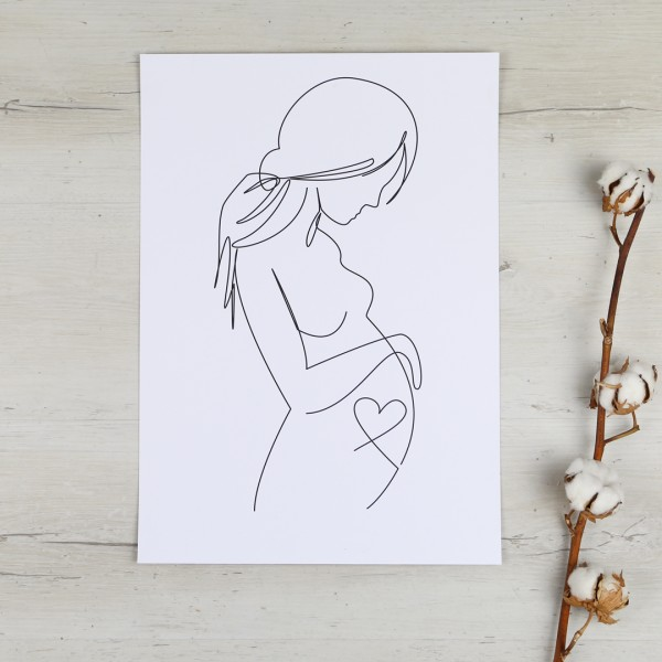 Line Art – Kunstdruck – Liebe unterm Herzen