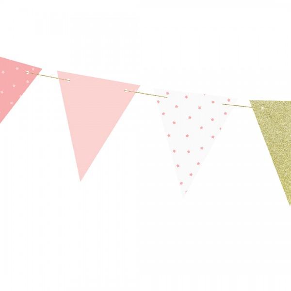 Wimpel-Girlande – Party Deko   Erster Geburtstag mit Wimpeln in Rosa und Weiß bedruckt mit Muster