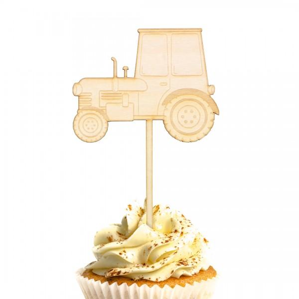 Cake Topper Traktor aus Holz auf Muffin