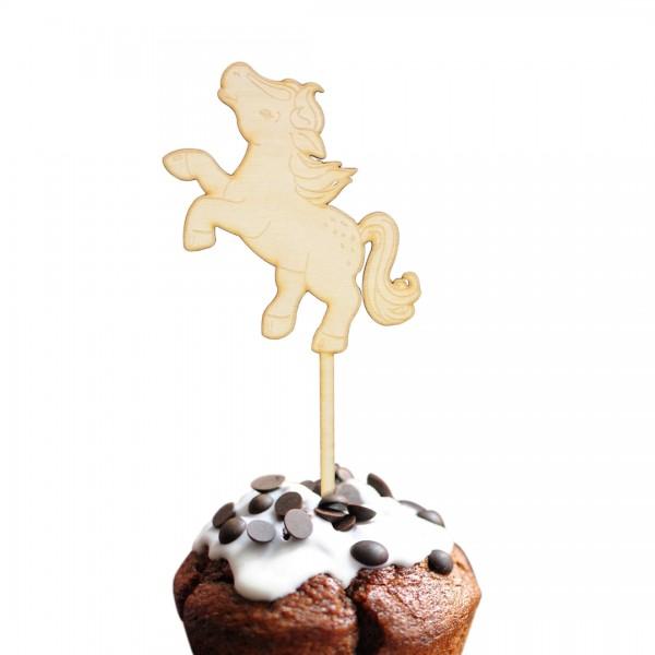 Cake Topper Pferd fröhlich aus Holz auf Muffin