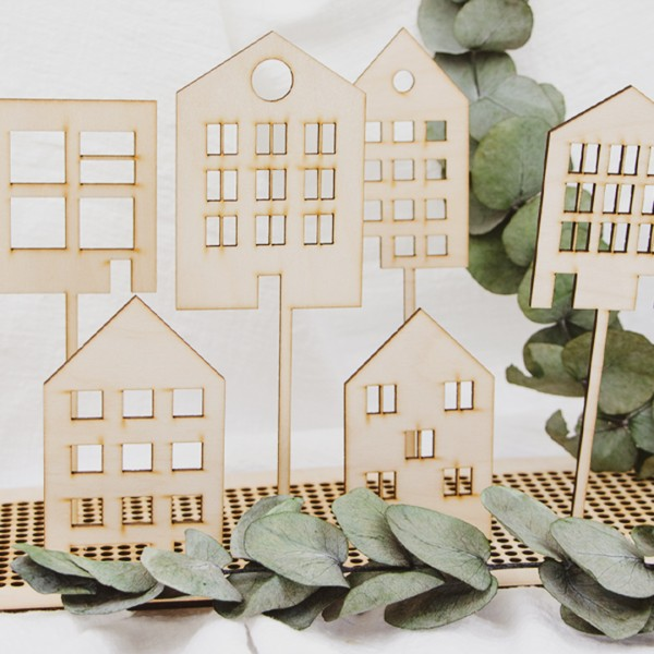 Cake Topper - Scandi Häuser - Wunschmotiv