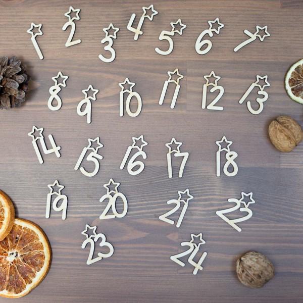 Anhänger - Adventskalender Zahlen verteilt zwischen Tannenzapfen Walnuss und getrockneter Orange