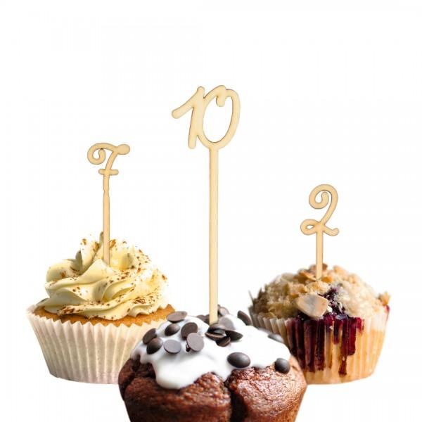 Cake Topper Wunschzahl geschwungen auf Muffins