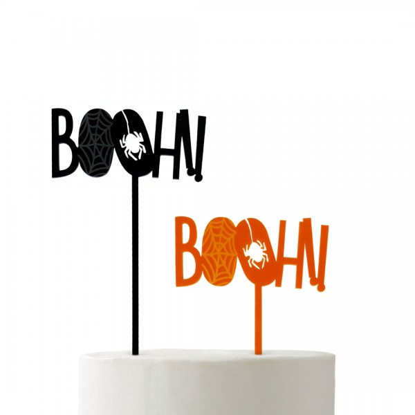 Cake Topper Booh!! in Orange und Schwarz