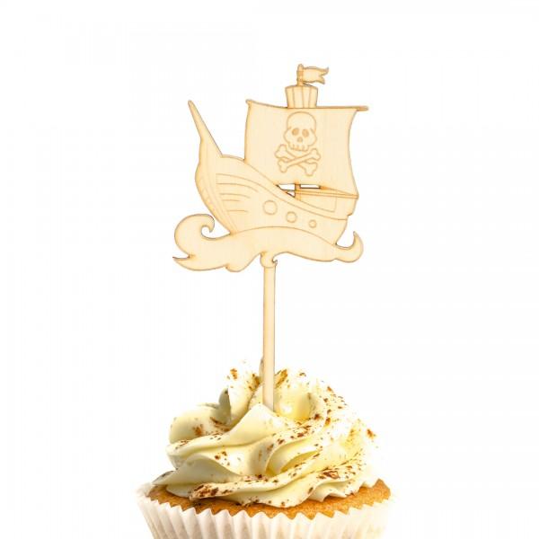 Cake Topper Piraten   Schiff auf einem Muffin