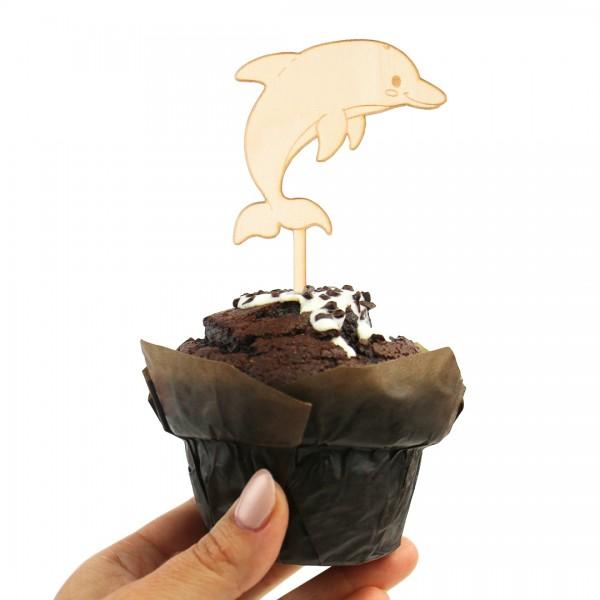 Cake-Topper Unterwasserwelt Delfin aus Holz auf Muffin
