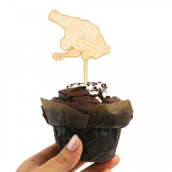 Cake Topper Piraten   Kanone auf einem Muffin