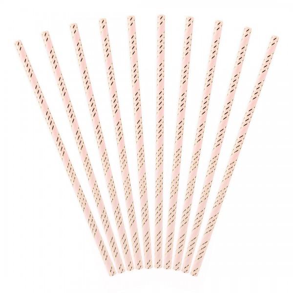 Papierstrohhalme rosa mit goldenen Streifen 10 Stück
