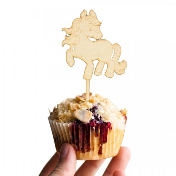 Cake Topper Pferd vornehm aus Holz auf Muffin