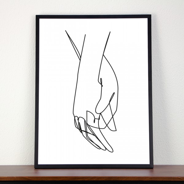 Line Art – Kunstdruck – Hand in Hand