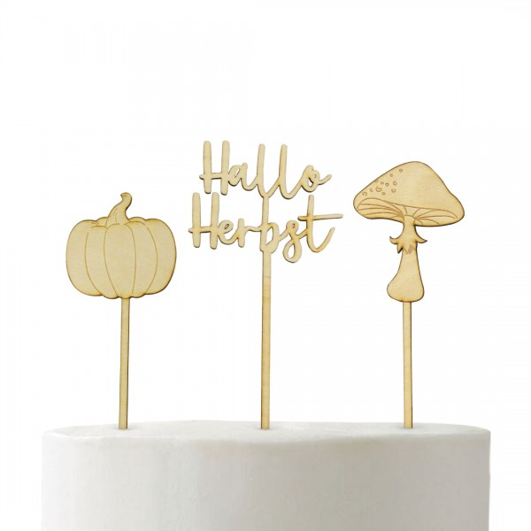 Cake Topper Kürbis Cake Topper Hallo Herbst Cake Topper Pilz Cake Topper auf Fondant Torte