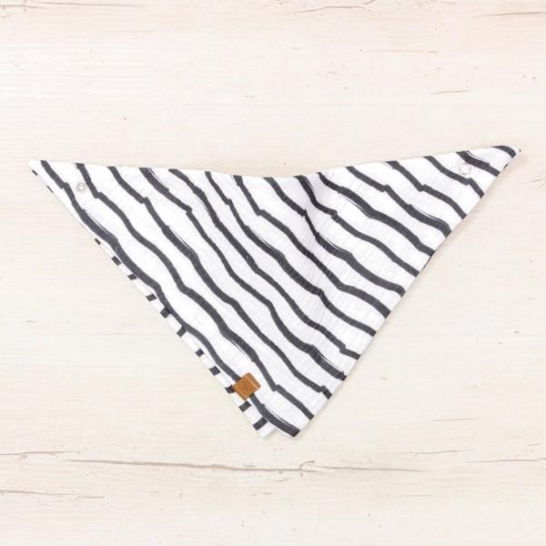 Musselin Dreieckstuch - Stripes mit Druckknopf