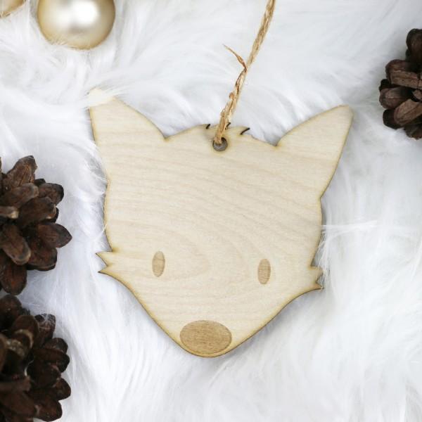 Holzanhänger mit Fuchs als Motiv