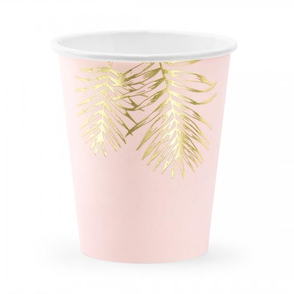 Becher Blätter rosa mit goldener Verzierung einzeln