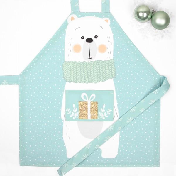 Kinderschürze Schneezeit mit niedlichen Eisbär mit Geschenk