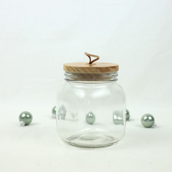 Leeres Glas mit Schlaufe und Holz Deckel