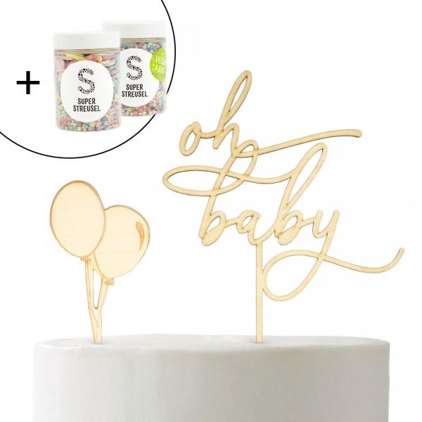 Set mit Cake Topper oh baby und Luftballons und Super Streusel Pastell Karusell und Tüte Buntes