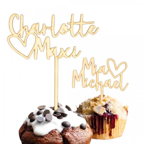 Cake Topper - Wunschnamen mit Herz