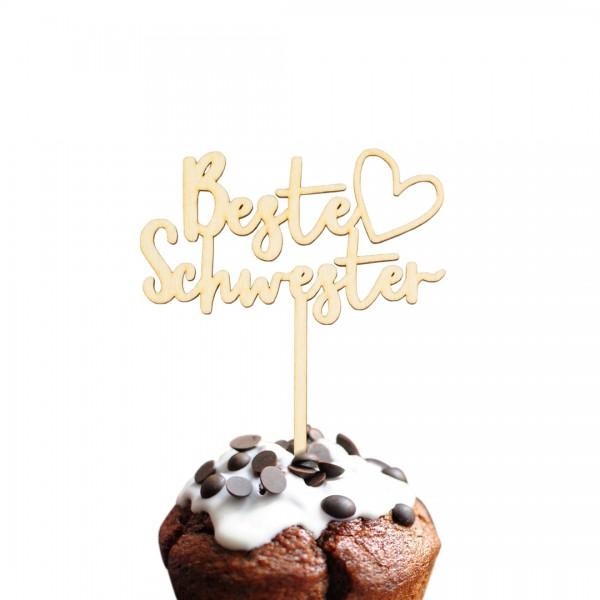 """Cake Topper """"Beste Schwester Herz"""" auf einem Muffin"""