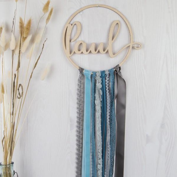 DIY-Set Holzkranz mit Wunschtext - blau