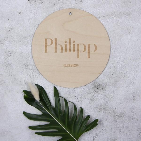 Holzschild mit Name & Datum – Gravur gerade