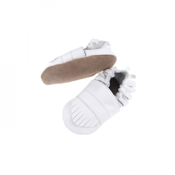 Babyschuhe Leder Fransenlook - weiß