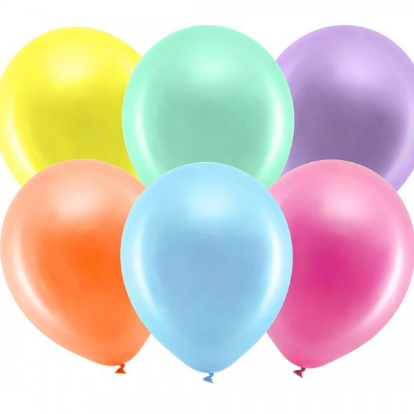 Ballons - Partydeko – Metallic Regenbogen Mix Detail