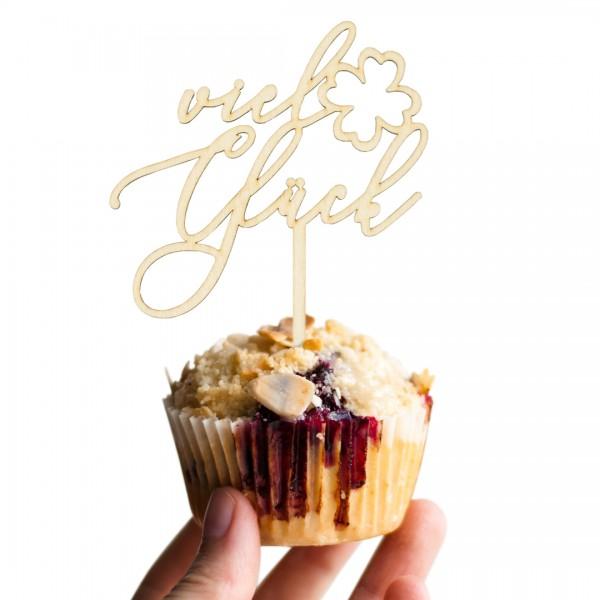 """Cake Topper """"Viel Glück Kleeblatt"""" auf einem Muffin"""