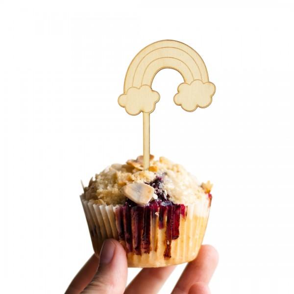 Cake Topper Regenbogen in Muffin