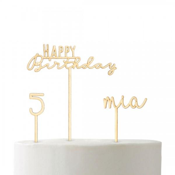 Cake Topper - Set - Geburtstag - Schnörkel klein