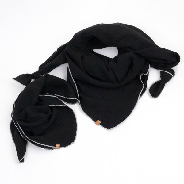 Musselintuch 2er Set - schwarz mit weißer Ziernaht