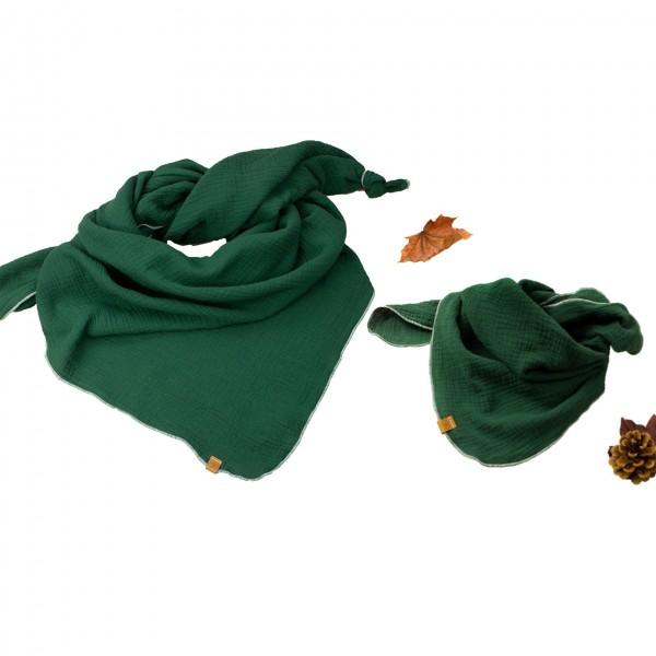 Musselintuch 2er Set - dunkelgrün