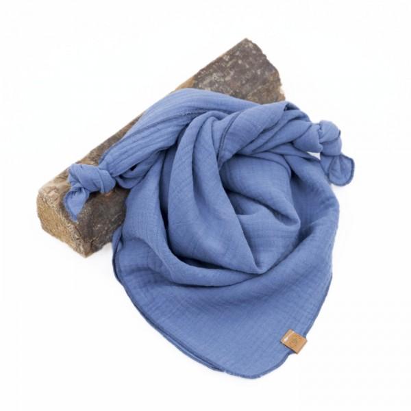 Musselintuch - graublau mit graublauer Ziernaht