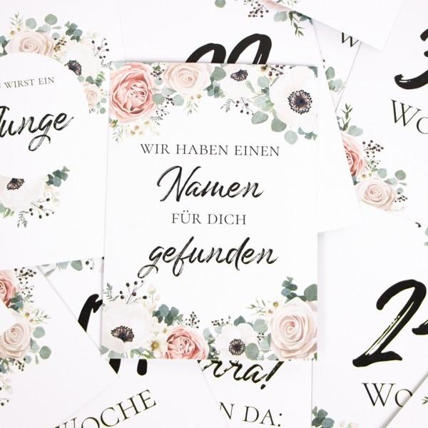 "Meilensteinkarten ""Schwangerschaft"" - Blumen - 24 Karten Set"