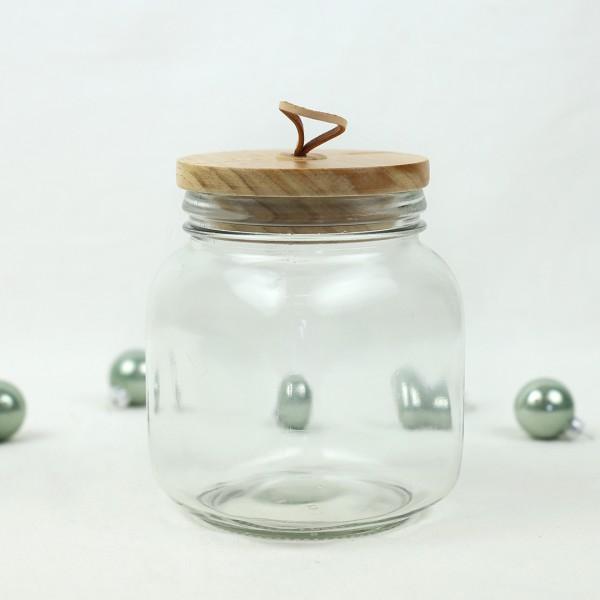 Leeres Schlaufen Holz Deckel Glas