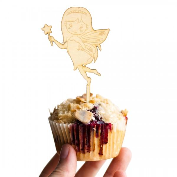 Cake Topper kleine Fee mit Zauberstab und Flügeln aus Holz auf Muffin