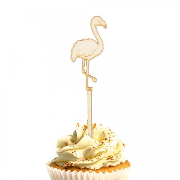 Cake Topper Flamingo aus Holz auf Muffin