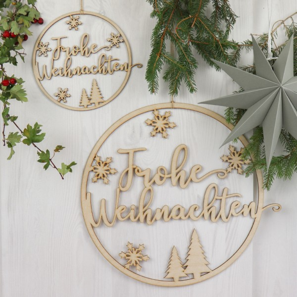 Holzkranz   Frohe Weihnachten   Schneeflocken