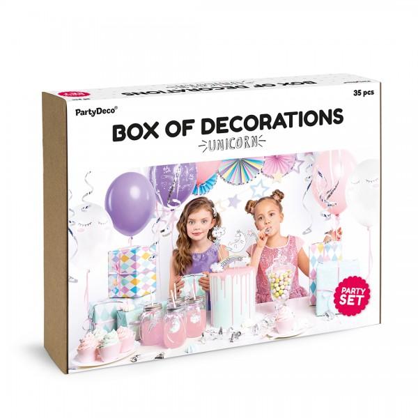 Party Deko-Set Einhorn unter anderem bestehend aus Luftballons, Rosetten, Girlande, Sticker und Cake Topper